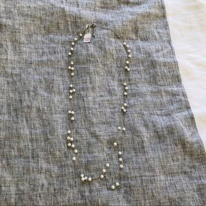 "NWT Lia Sophia 26""-30"" Silver and Pearl Necklace"